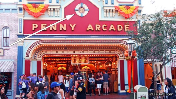 Large Indian Head Cent dated 1901 on Penny Arcade facade in Disneyland on Main Street USA