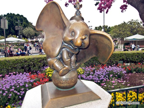 Little Dumbo and Timothy Mouse statue near Disneyland Partners Statue in Central Hub or Central Plaza or Castle Hub