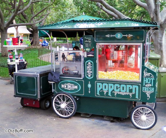 Popcorn Cart in New Orleans Square Disneyland near The Haunted Mansion