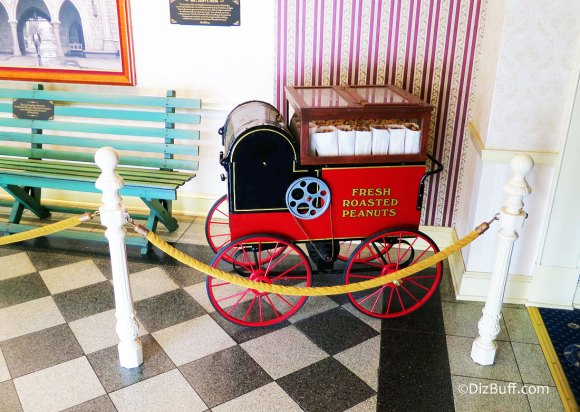 Vintage Peanut Vending Cart at Disneyland Opera House from the time Walt Disney took his daughters to Griffith Park Merry-Go-Round