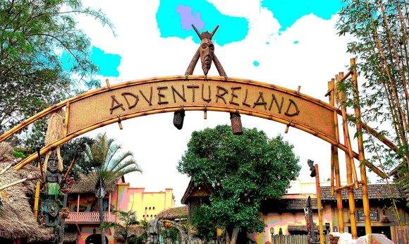 Newly refurbished Adventureland overhead sign in 2019