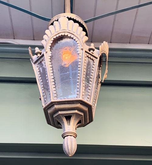 Light fixture outside Blue Bayou Restaurant Disneyland