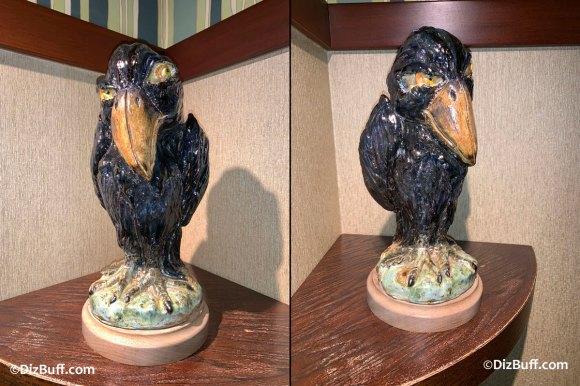 Grotesque Bird Angelique the Crow in Disneyland Grand Californian Hotel