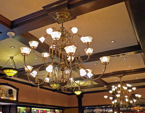 Chandeliers hanging from ceiling in the Emporium on Main Street USA Disneyland