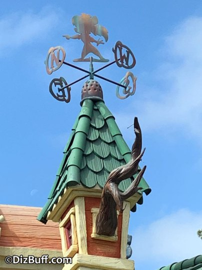 Miss Gadget Hackwrench weather vane on Gadget's Go Coaster in Mickeys Toontown Disneyland from Chip n Dale Rescue Rangers