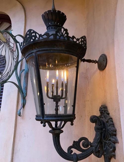 Gas Lamp light fixture in Court of Angels Disneyland Club 33