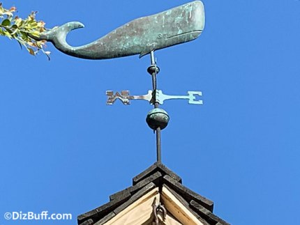 Whale shaped weather vane on top of Disneys Harbour Galley Restaurant in Disneyland