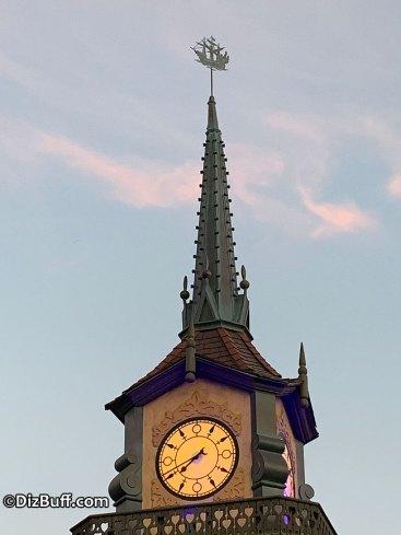 Jolly Roger galleon roof spire or ornament on top of Peter Pan's Flight attraction in Fantasyland Disneyland
