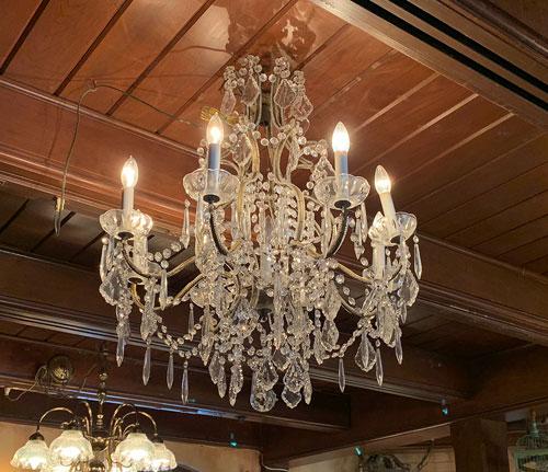 Clear crystal chandelier in Le Bat en Rouge store in New Orleans Square Disneyland