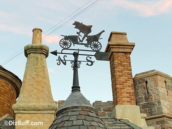 Mr Toad weather vane on top of Mr Toads Wild Ride in Disneyland Fantasyland