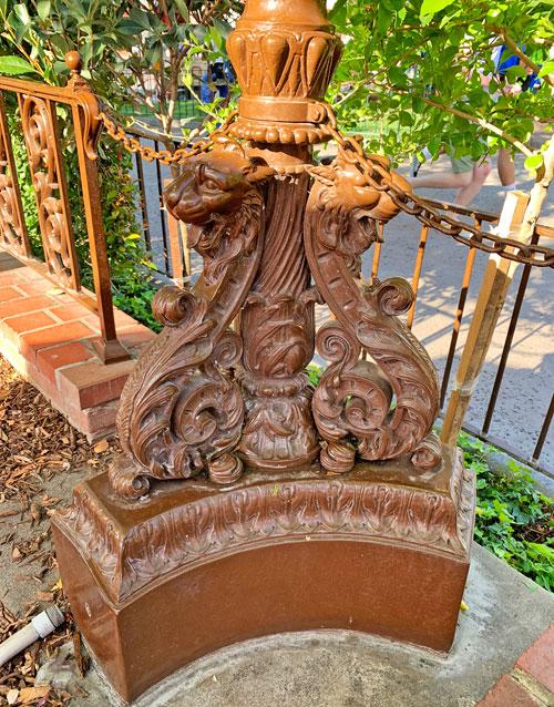 Lion sculpture base of light fixture at Plaza Inn Restaurant Disneyland