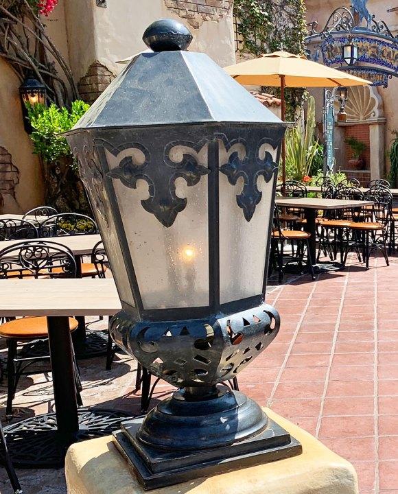 Light fixture on pillar at Rancho del Zocalo Restaurant in Disneyland Frontierland