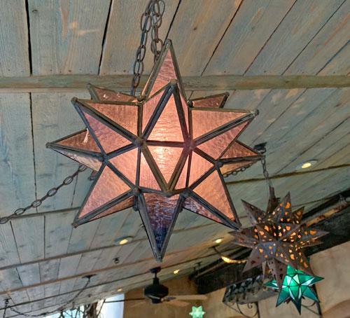 Star shaped light fixture at Rancho del Zocalo Restaurant in Disneyland Frontierland