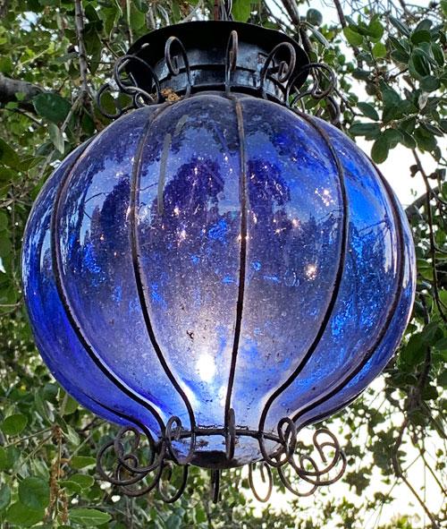 Cobalt blue glass light fixture at Rancho del Zocalo Restaurant in Disneyland Frontierland