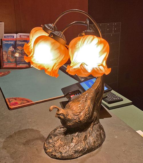 Registration Desk lamp with California Quail at Disney's Grand Californian Hotel