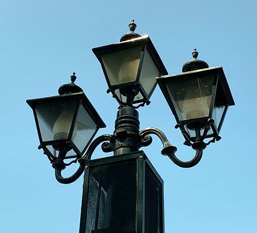 Triple light fixtures on the Rivers of America Disneyland Frontierland