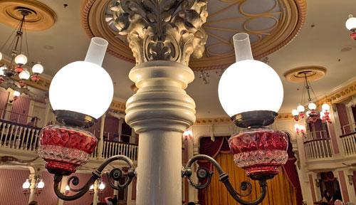 Close up of Old West Light Fixture in The Golden Horseshoe Disneyland
