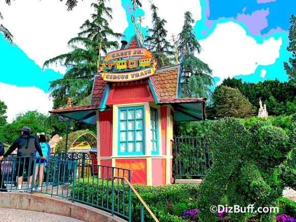 Original ticket booth for Casey Jr Circus Train in Fantasyland Disneyland