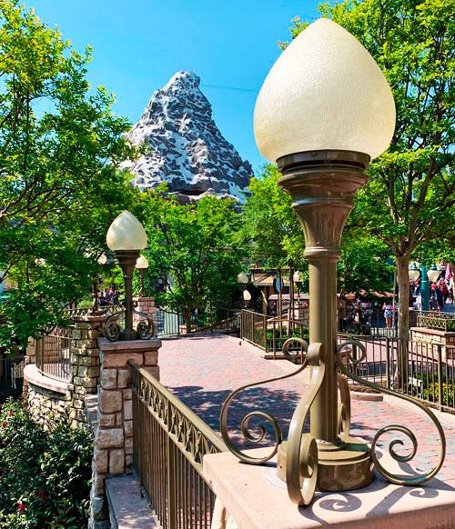 Tulip shaped Light fixtures near Matterhorn Bobsleds in Fantasyland Disneyland
