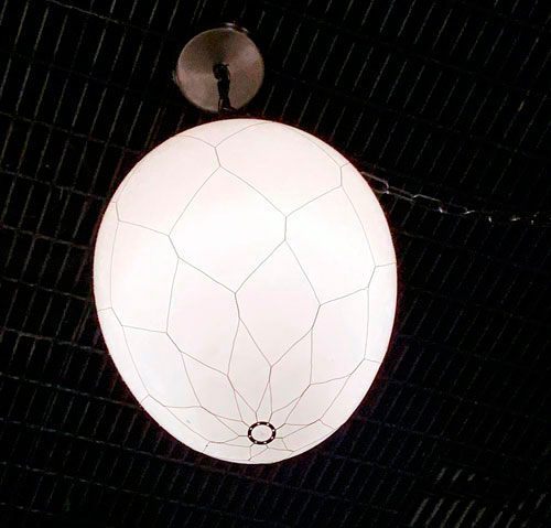 Egg shaped light fixture in the Collector's Private Office in Guardians of the Galaxy Mission Breakout Disney California Adventure Park