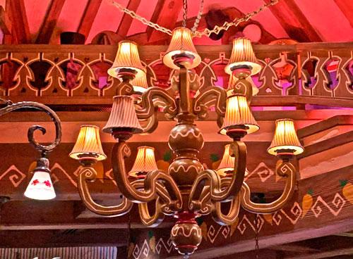Chandelier hanging in The Mad Hatter shop in Fantasyland section of Disneyland