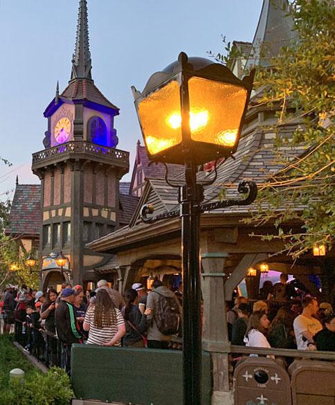 Wrought iron Light fixture on lamppost near Peter Pan attraction in Fantasyland Disneyland