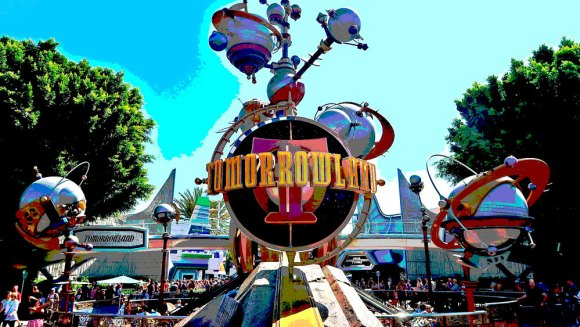 Entrance to Tomorrowland Disneyland with Astro Orbitor attraction in the background
