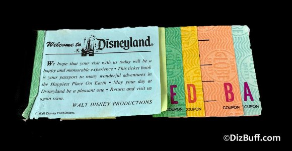 Old vintage Ticket book for Disneyland with A, B, C, D, E level tickets