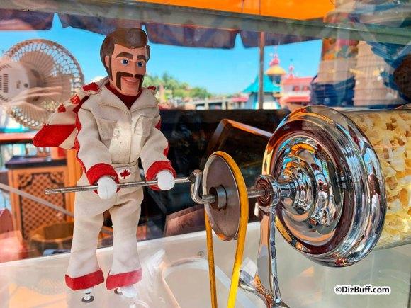 Popcorn Turner doll at Disneyland Duke Caboom Canada's most famous stuntman at Disney California Adventure Pixar Pier