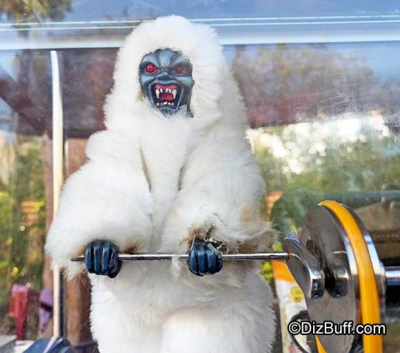 Closeup of Abominable Snowman popcorn turner doll at Disneyland