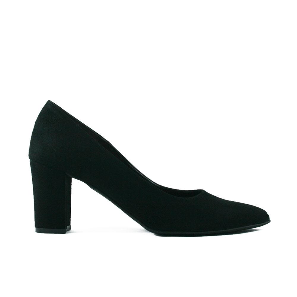 Black Leather Peep Toe Shoes