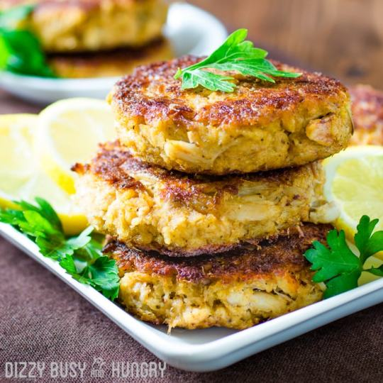 Crab Cakes | DizzyBusyandHungry.com - Succulent crab cakes spiced just right for kids and adults alike! Serve straight from the stove or place on a bun.