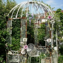 35+ Top Guide Of Metal Garden Arbor Trellis With Gate Scroll Design Arch Climbing Plants 235