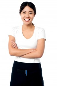 Portrait Of Smiling Asian Waitress