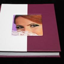 12.L Album Digital Nunta 30x30 cm. Piele ecologica alba + gri floral + fotografie
