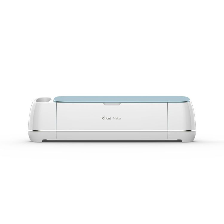 Front facing image of blue Cricut Maker crafting machine