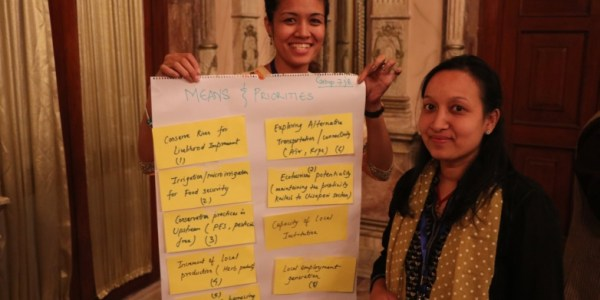 Sanita Dhaubanjar from IWMI shares results from her group discussion with the wider workshop.