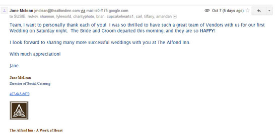 Wedding endorsement from the Social Catering Director