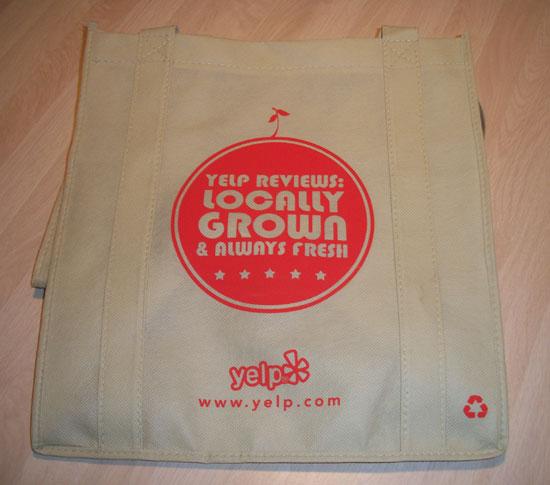 Yelp testimonial bag
