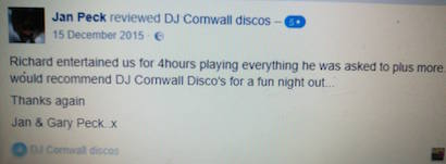 Testimonial DJ Cornwall Discos - 4