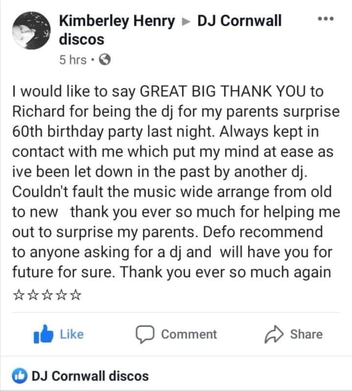 Testimonial DJ Cornwall Discos - 2