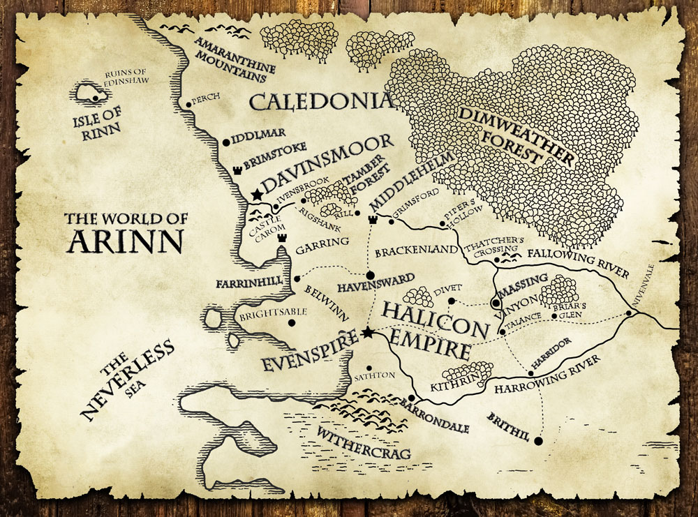 Map of Arinn from The Last Motley, the fantasy novel by author DJ Edwardson