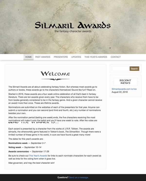 silmaril awards web page