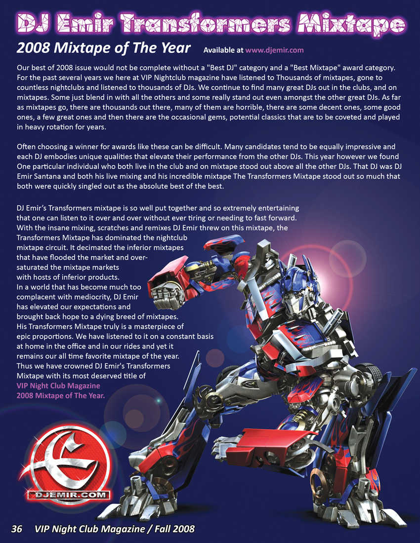 Mixtape of The Year Article for DJ Emir's Transformers Mixtape
