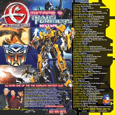 DJ Emir Transformers Mixtape Inside Cover