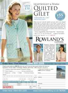 Rowland's Clothing Advertisement, off the page advertising, Response Advertising