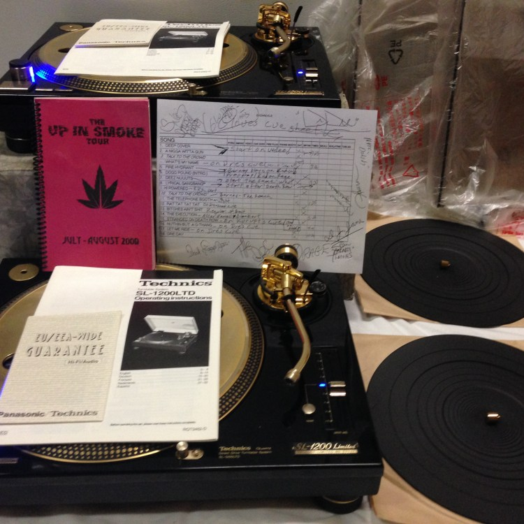 2 Technics SL-1200 Custom Gold Limited Edition Turntables from Dr Dre's Up n Smoke Tour