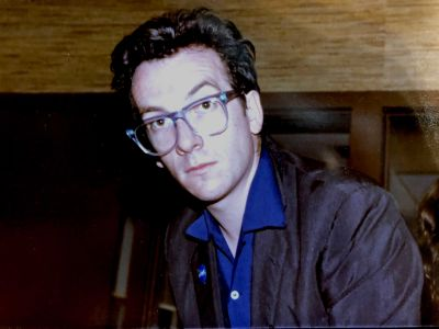 Elvis Costello in the Pasadena studio with Jed The Fish