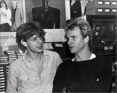 Sting in the Pasadena control room with Jed The Fish, cir.1984