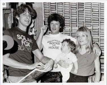 Chris Franz and Tine Weymouth of the Tom Tom Club with Jed The Fish, cir.1981